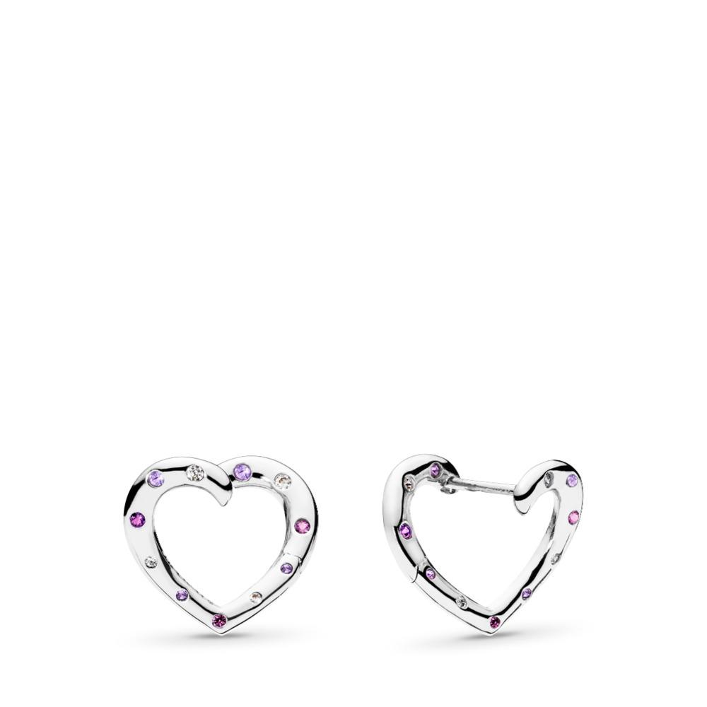 Boucles d'oreilles à anneaux Cœurs lumineux, cristaux violet royal et lilas, cz incolore, Argent sterling, Aucun autre matériel, Mauve, Pierres mélangées - PANDORA - #297231NRPMX