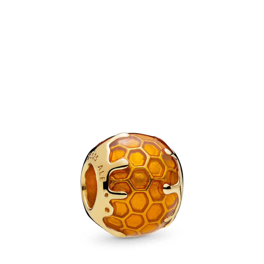Golden Honey Charm, PANDORA Shine™ & Warm Yellow Enamel, 18ct gold-plated sterling silver, Enamel, Yellow - PANDORA - #767120EN158