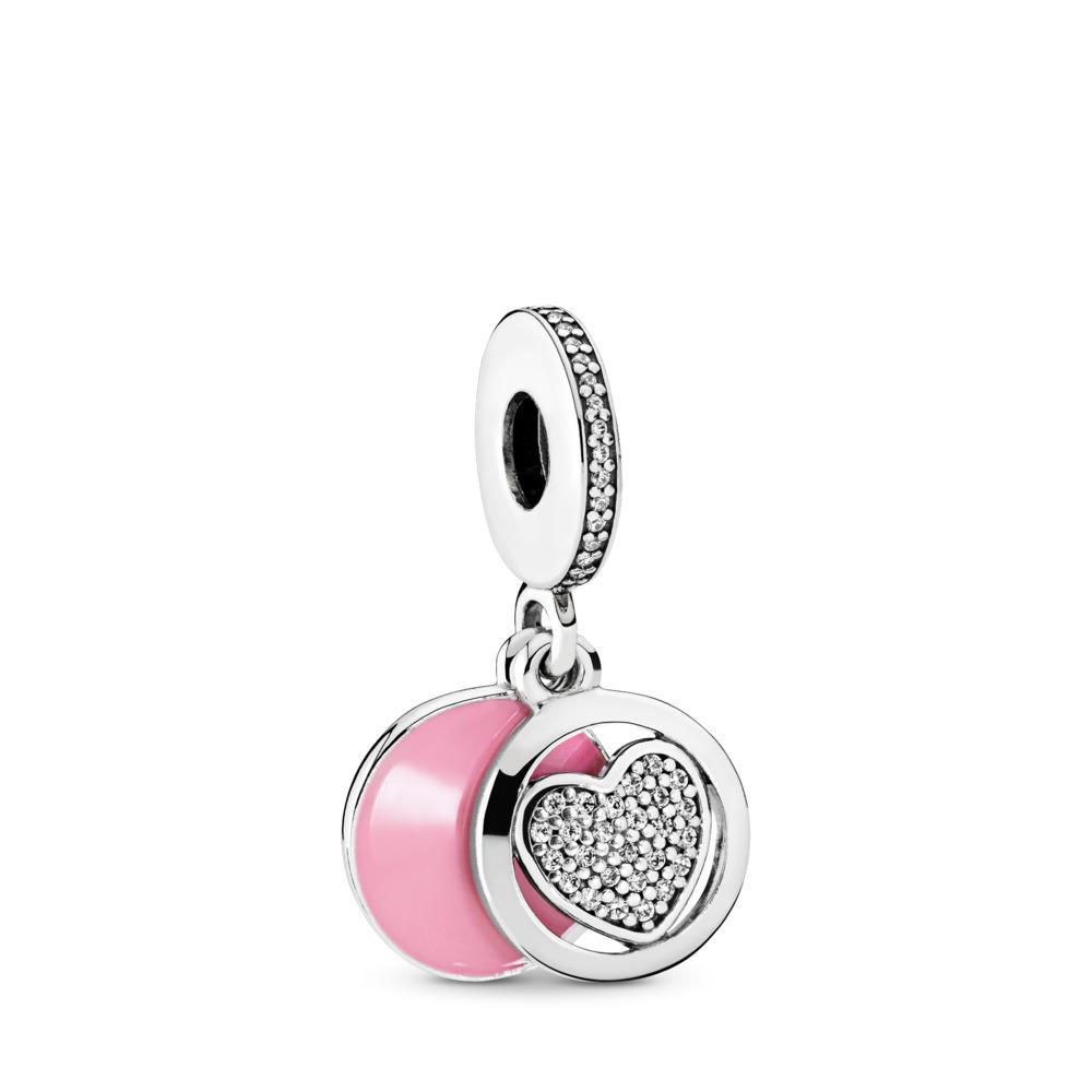 Devoted Heart, Pink Enamel & Clear CZ, Sterling silver, Enamel, Pink, Cubic Zirconia - PANDORA - #792149EN24
