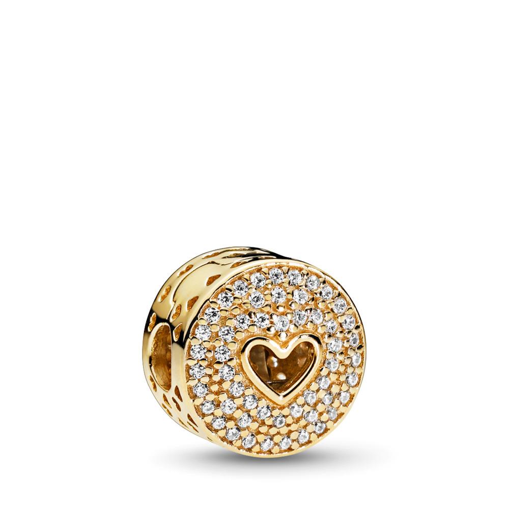 Heart of Luxury Clip, PANDORA Shine™, Yellow Gold 14 k, Cubic Zirconia - PANDORA - #757557CZ