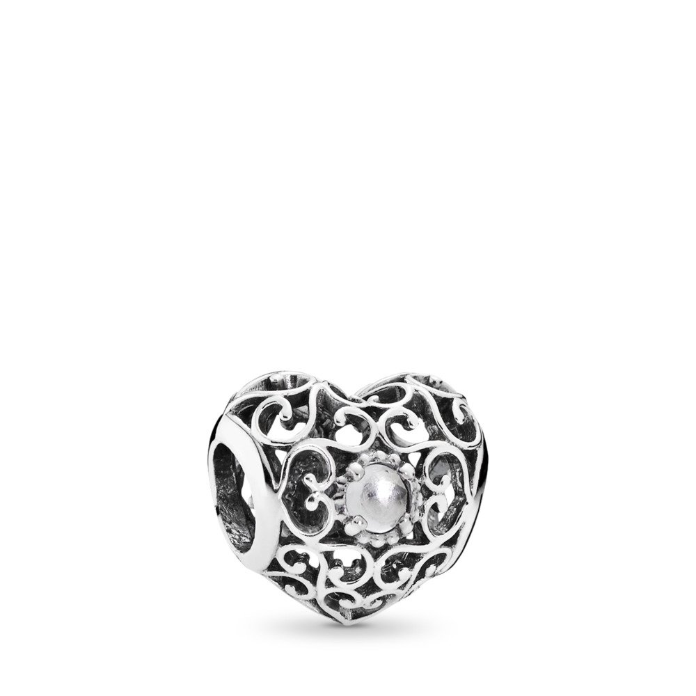 April Signature Heart, Rock Crystal, Sterling silver, Grey, Rock crystal - PANDORA - #791784RC