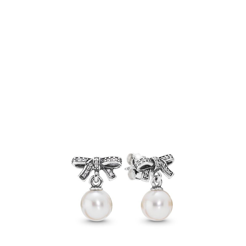 Delicate Sentiments, White Pearl & Clear CZ, Sterling silver, White, Mixed stones - PANDORA - #290596P