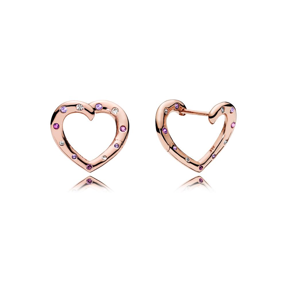 Boucles d'oreilles à anneaux Cœurs lumineux, PANDORA Rose, cristaux violet royal et lilas, cz incolore