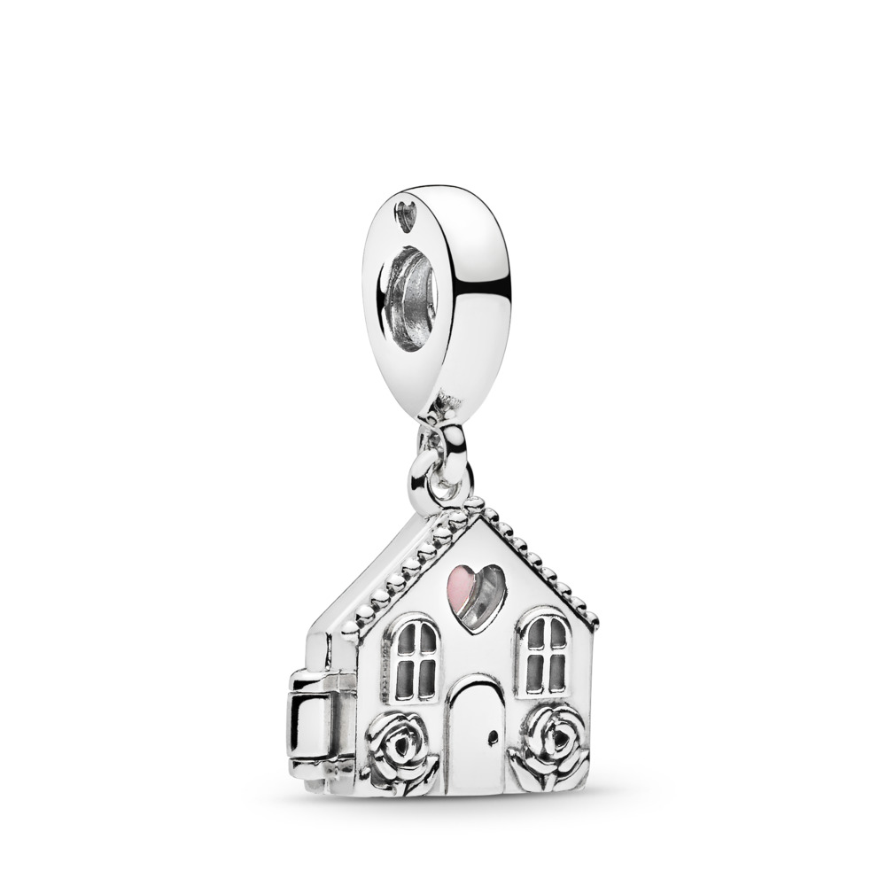 Charm pendentif Chez-soi douillet, émail rose pâle, Argent sterling, émail, Rose, Aucune pierre - PANDORA - #797056EN160