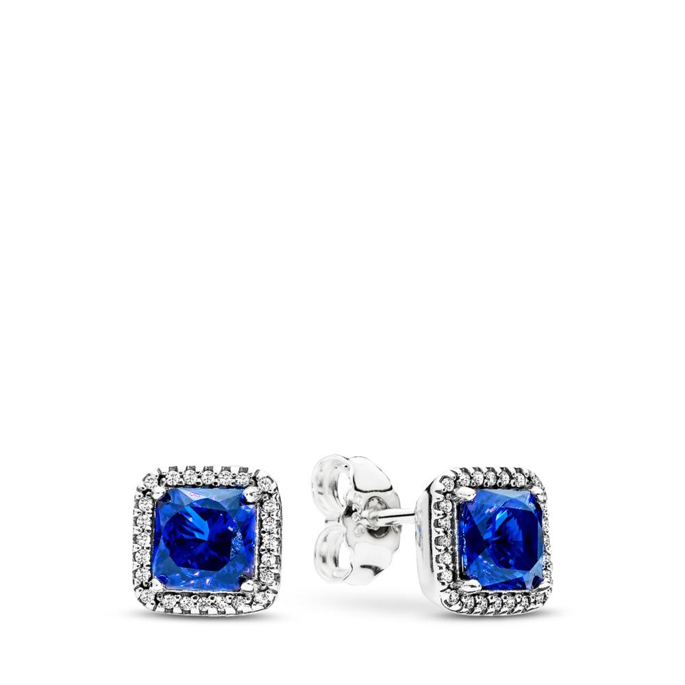 Timeless Elegance, True Blue Crystals & Clear CZ, Sterling silver, Blue, Mixed stones - PANDORA - #290591NBT