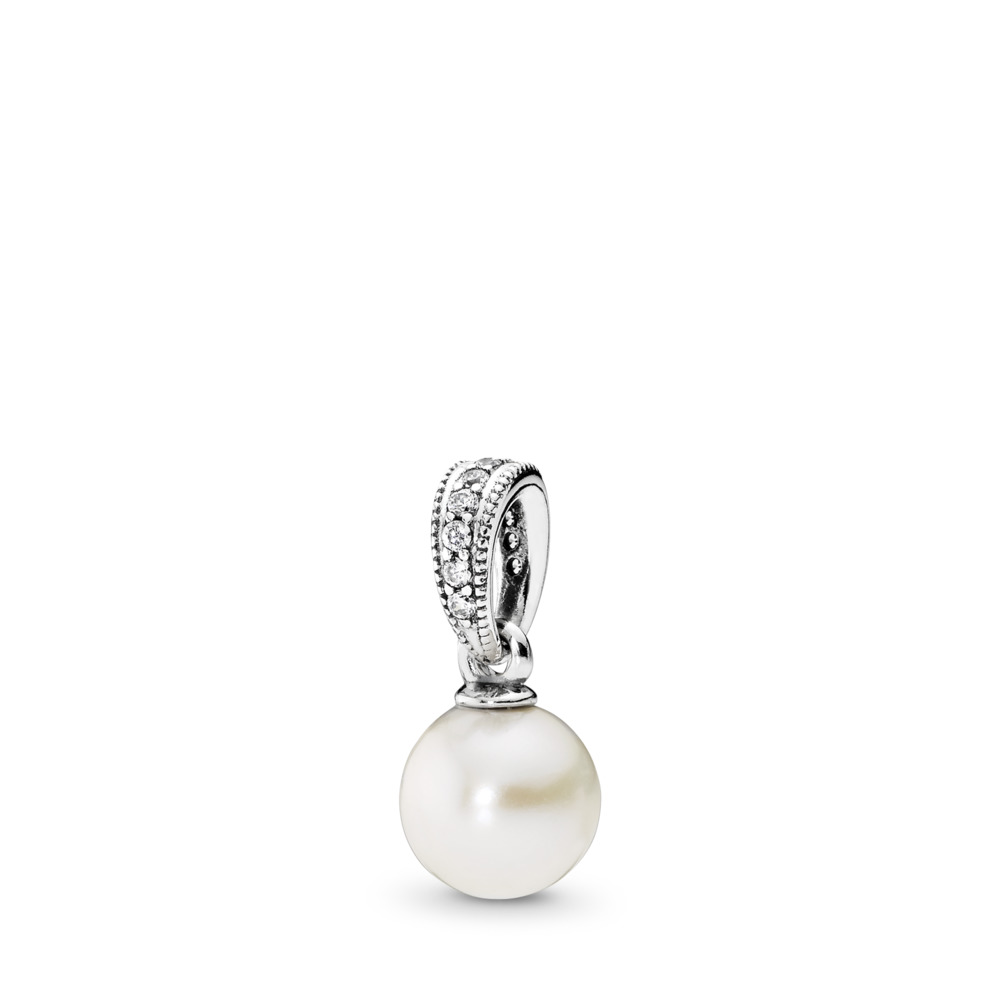 Elegant Beauty, White Pearl & Clear CZ, Sterling silver, White, Mixed stones - PANDORA - #390393P
