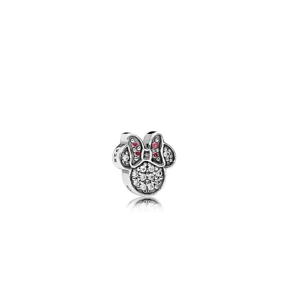 Mini Disney, Emblème brillant de Minnie, cz rouge et incolore