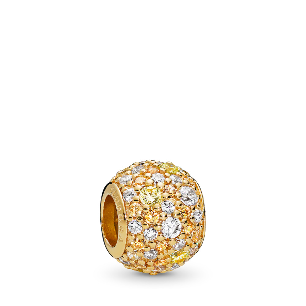 Golden Mix Pavé Charm, PANDORA Shine™ & Multi-coloured CZ, 18ct gold-plated sterling silver, Yellow, Cubic Zirconia - PANDORA - #767052CSY