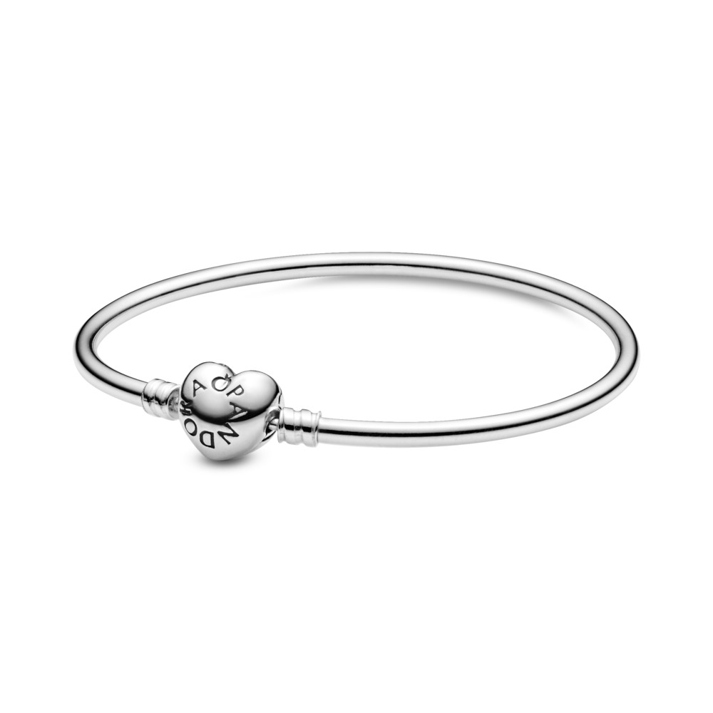 Charm Bangle, Logo Heart Clasp, Sterling silver - PANDORA - #596268