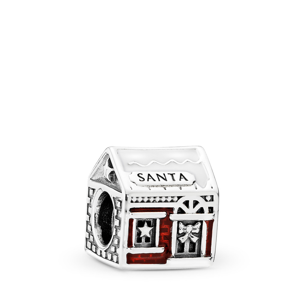 Santa's Home, White & Translucent Red Enamel, Sterling silver, Enamel, Red - PANDORA - #792003ENMX
