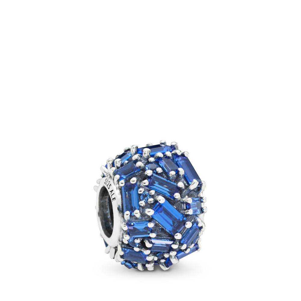 Charm Élégance sculptée bleu CZ, Argent sterling, Aucun autre matériel, Bleu, Cristal - PANDORA - #797746NSBL