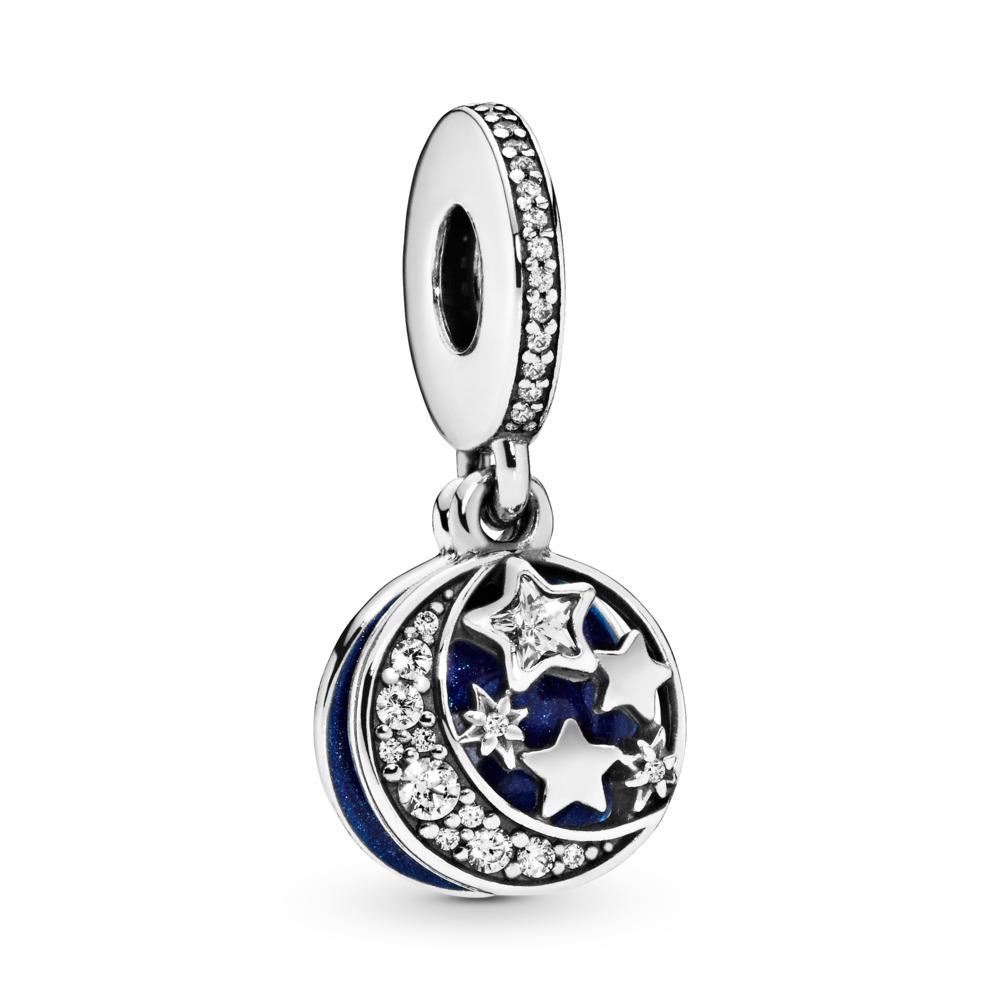 Nuit étoilée d'antan, émail scintillant bleu de minuit et CZ incolore, Argent sterling, émail, Bleu, Zircon cubique - PANDORA - #791993CZ