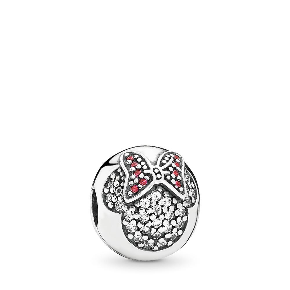 Disney, Minnie Pavé Clip, Sterling silver, Red, Cubic Zirconia - PANDORA - #791450CZ