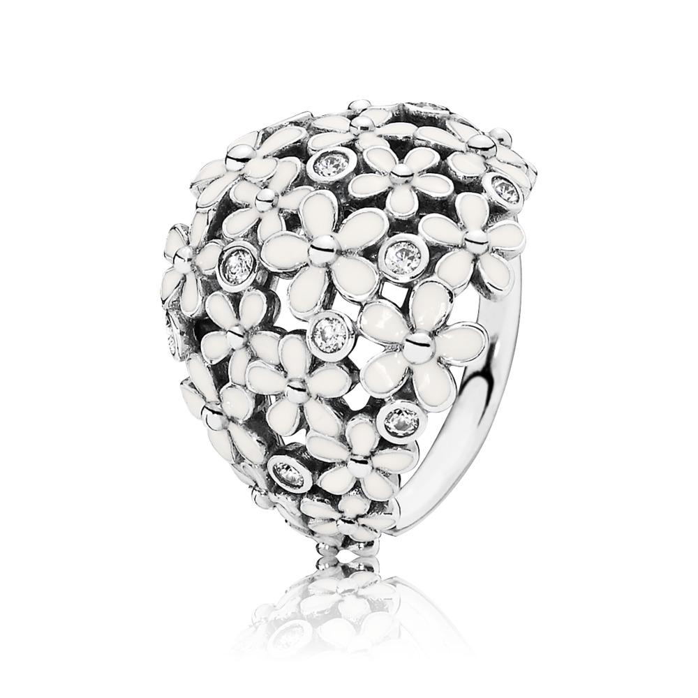 Darling Daisy Bouquet Ring, White Enamel & CZ, Sterling silver, Enamel, Beige, Cubic Zirconia - PANDORA - #190936EN12