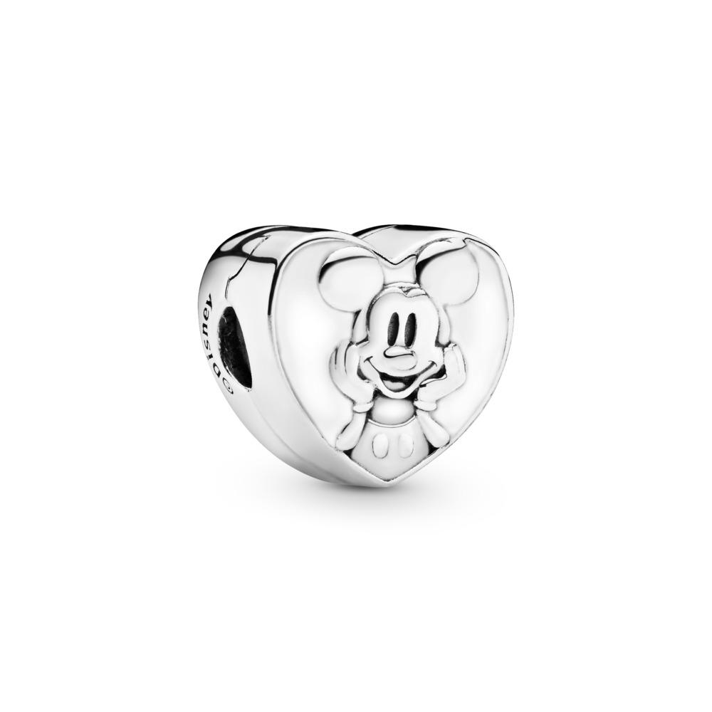 Clip Disney, Mickey rétro, émail blanc, Argent sterling, émail, Blanc, Aucune pierre - PANDORA - #797169EN12