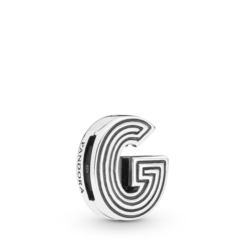 Charm Lettre G Pandora Reflexions, Argent sterling, Silicone, Aucune couleur, Aucune pierre - PANDORA - #798203