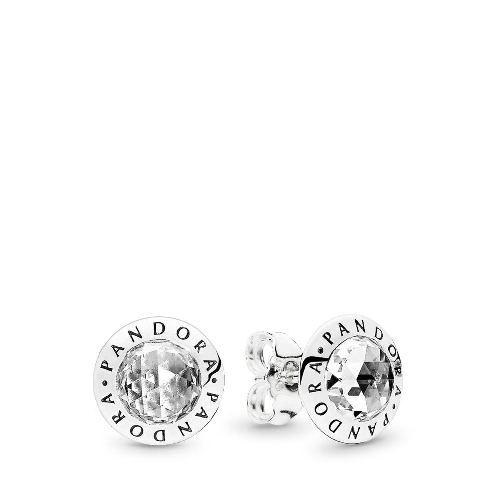 Radiant PANDORA Logo, Clear CZ, Sterling silver, Cubic Zirconia - PANDORA - #296216CZ