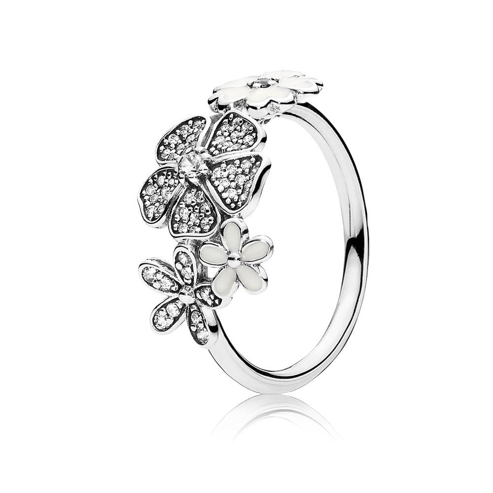 Shimmering Bouquet, White Enamel & Clear CZ