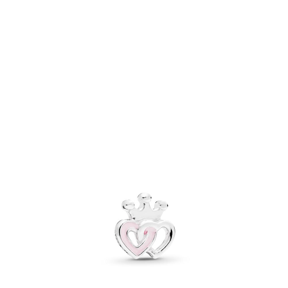Mini cœurs couronnés, émail rose doux, Argent sterling, émail, Aucune couleur, Aucune pierre - PANDORA - #792160EN40