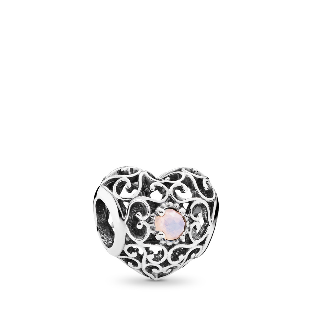 October Signature Heart, Opalescent Pink Crystal, Sterling silver, Pink, Crystal - PANDORA - #791784NOP