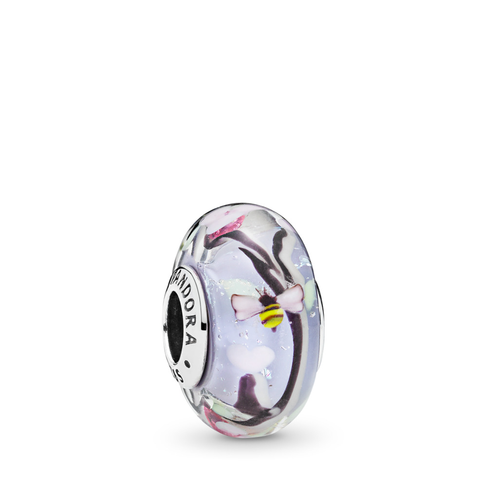 Enchanted Garden Murano Glass Charm, Sterling silver, Glass, Black - PANDORA - #797014