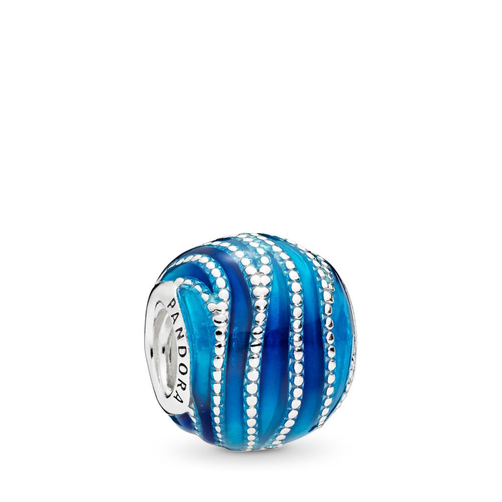 Charm Tourbillons bleus, émaux mixtes, Argent sterling, émail, Bleu, Aucune pierre - PANDORA - #797012ENMX