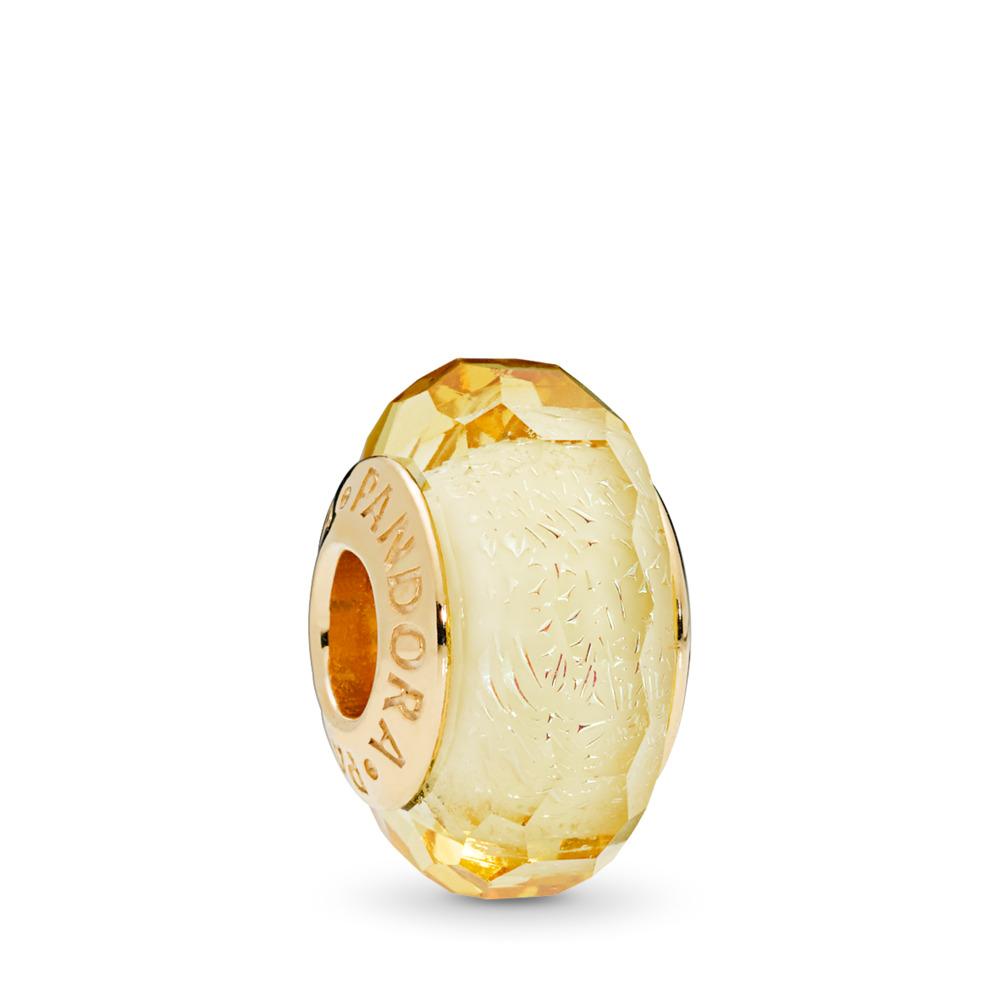 Charm en verre de Murano facetté doré, Or Plaqué 18ct, Verre, Gold, Aucune pierre - PANDORA - #767647