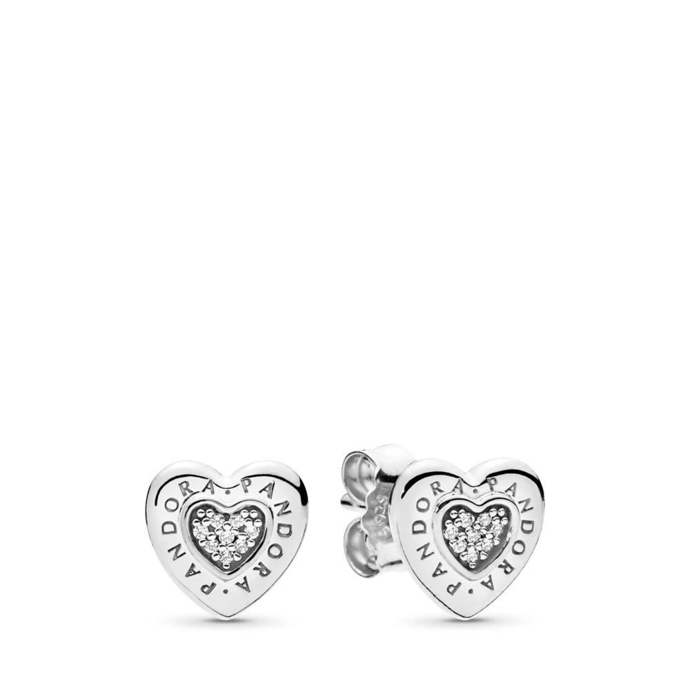 Clous d'oreilles Cœur Signature de PANDORA, cz incolore, Argent sterling, Aucun autre matériel, Aucune couleur, Zircon cubique - PANDORA - #297382CZ
