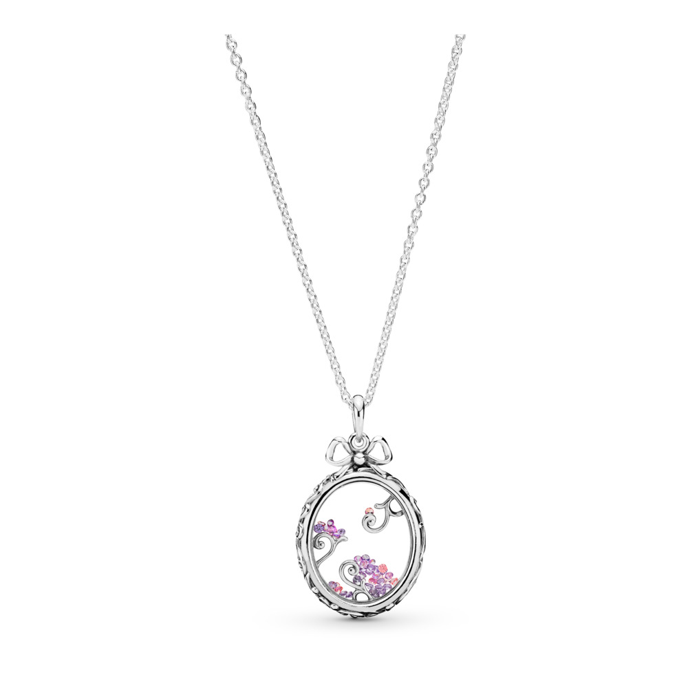 Locket of Dazzle Necklace Pendant, Multi-coloured CZ, Sterling silver, Silicone, Pink, Cubic Zirconia - PANDORA - #397716ACZMX