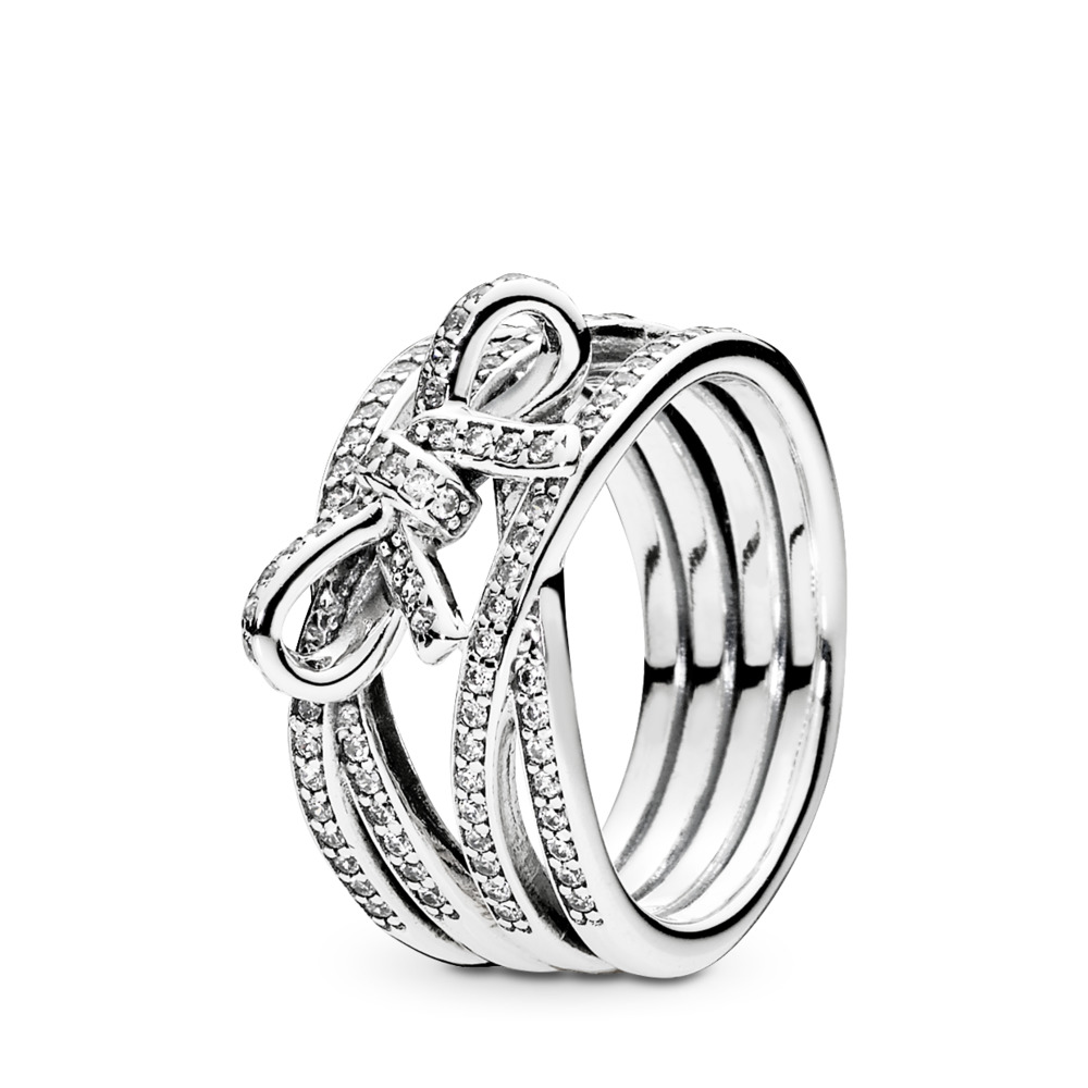 Delicate Sentiments Ring, Clear CZ, Sterling silver, Cubic Zirconia - PANDORA - #190995CZ