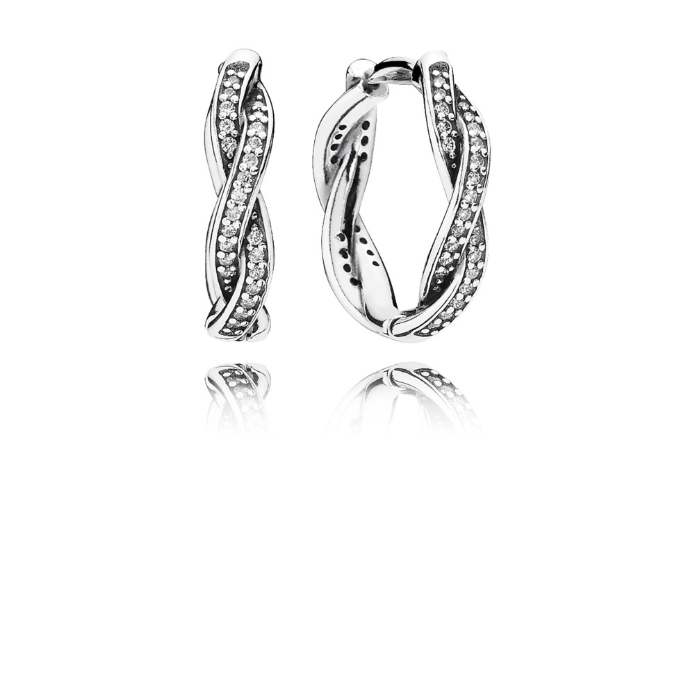 Twist Of Fate Earrings, Clear CZ, Sterling silver, Cubic Zirconia - PANDORA - #290576CZ