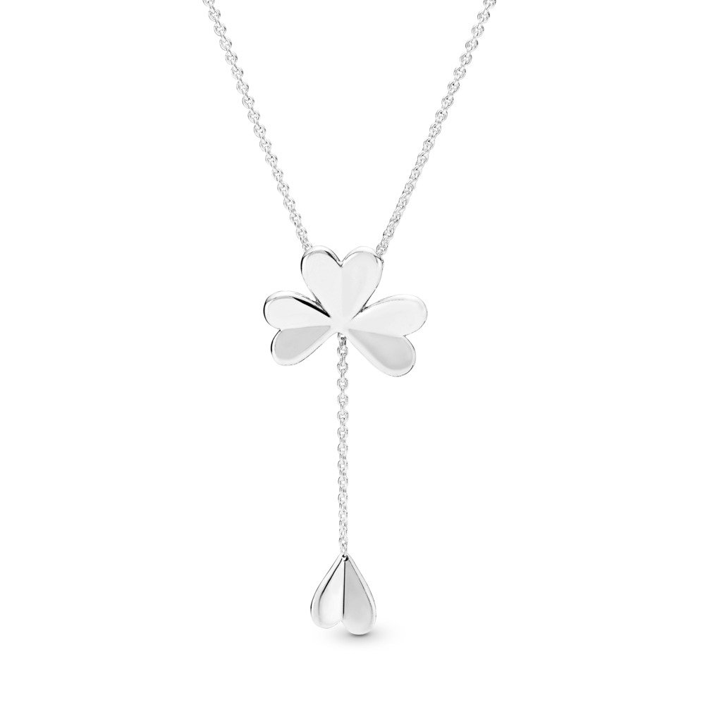 Limited Edition Lucky Four-Leaf Clover Necklace, Sterling silver, Silicone - PANDORA - #397925