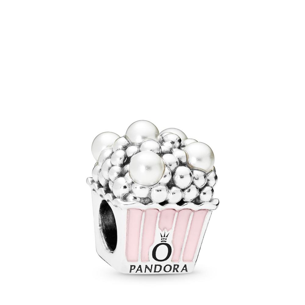 Charm Maïs soufflé délicieux, émail rose pâle et perles de cristal blanches, Argent sterling, émail, Rose, 68 - PANDORA - #797213EN160