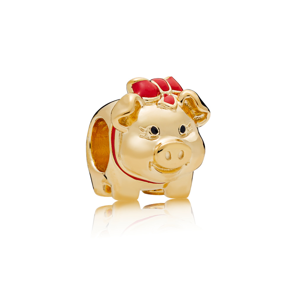 Piggy Bank, PANDORA Shine™, 18ct gold-plated sterling silver, Enamel, Black - PANDORA - #767815ENMX