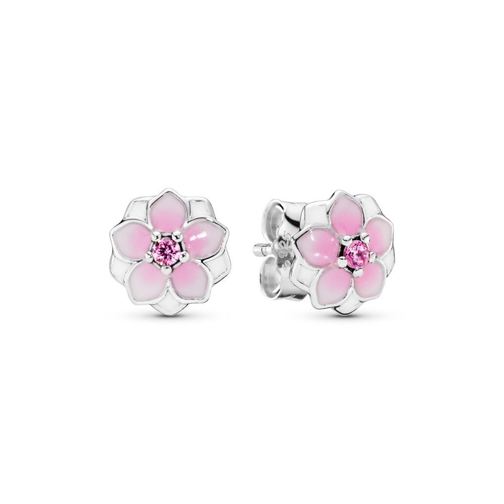Fleur de magnolia, émail cerise pâle et cz rose, Argent sterling, émail, Rose, Zircon cubique - PANDORA - #290739PCZ