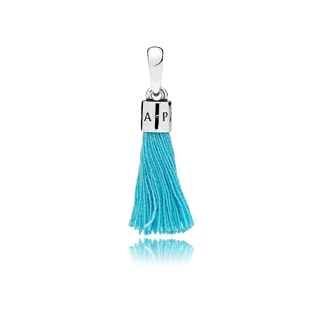 Limited Edition Turquoise Fabric Tassel Dangle Charm