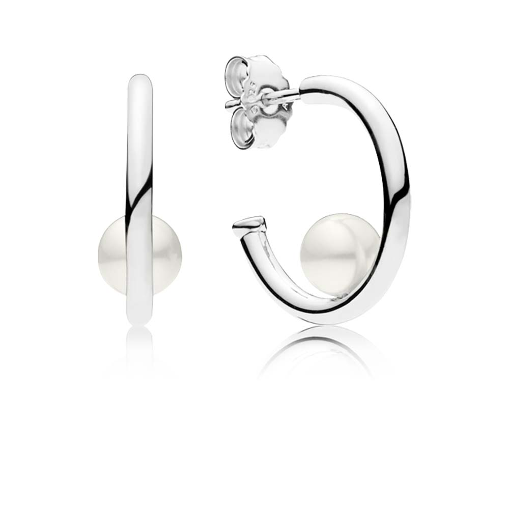 Contemporary Pearls Hoop Earrings