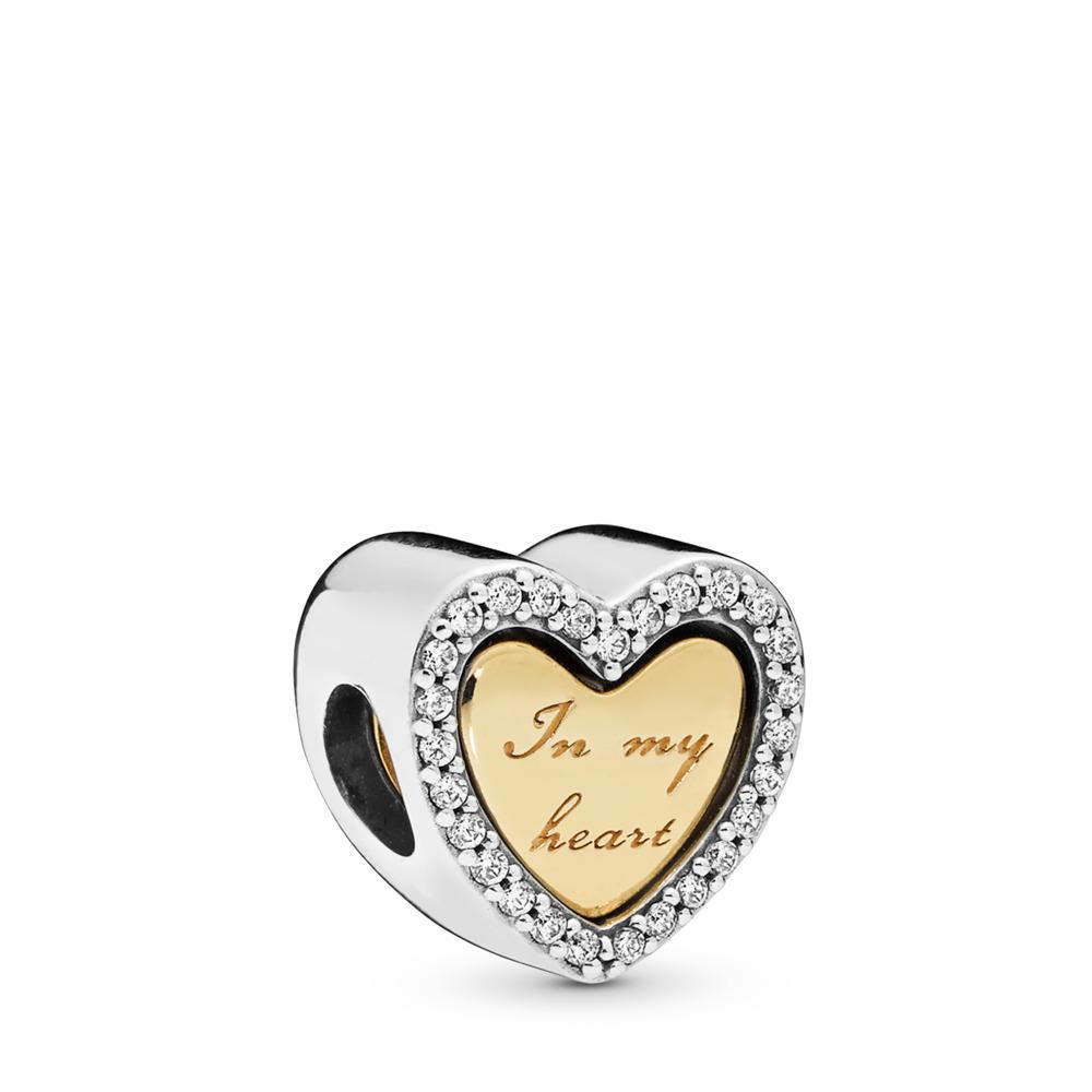 Charm Dans mon cœur, PANDORA Shine and sterling silver, Aucun autre matériel, Aucune couleur, Zircon cubique - PANDORA - #767606CZ