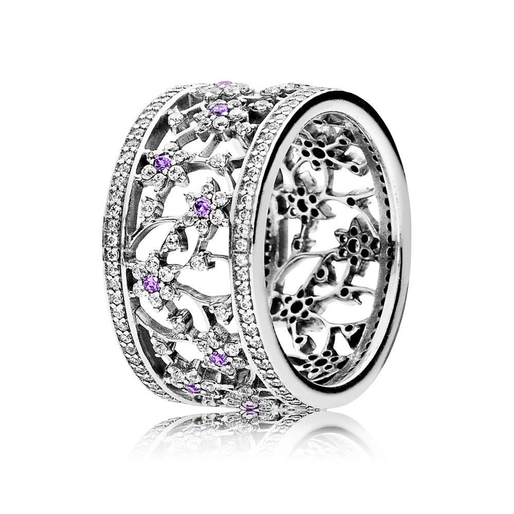 Forget Me Not Ring, Purple & Clear CZ, Sterling silver, Purple, Cubic Zirconia - PANDORA - #190991ACZ