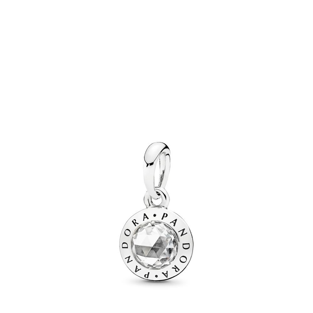 Radiant PANDORA Logo, Clear CZ, Sterling silver, Cubic Zirconia - PANDORA - #396217CZ