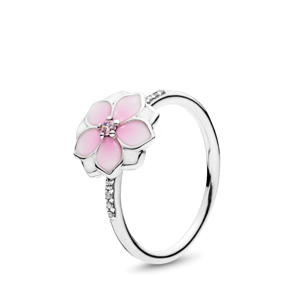 Fleur de magnolia, émail cerise pâle et cz rose