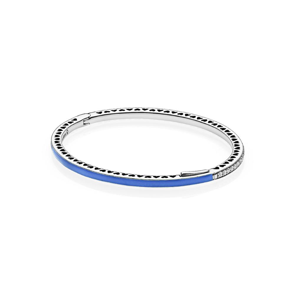Cœurs radieux de PANDORA, émail bleu princesse et cz incolore, Argent sterling, émail, Bleu, Zircon cubique - PANDORA - #590537EN82