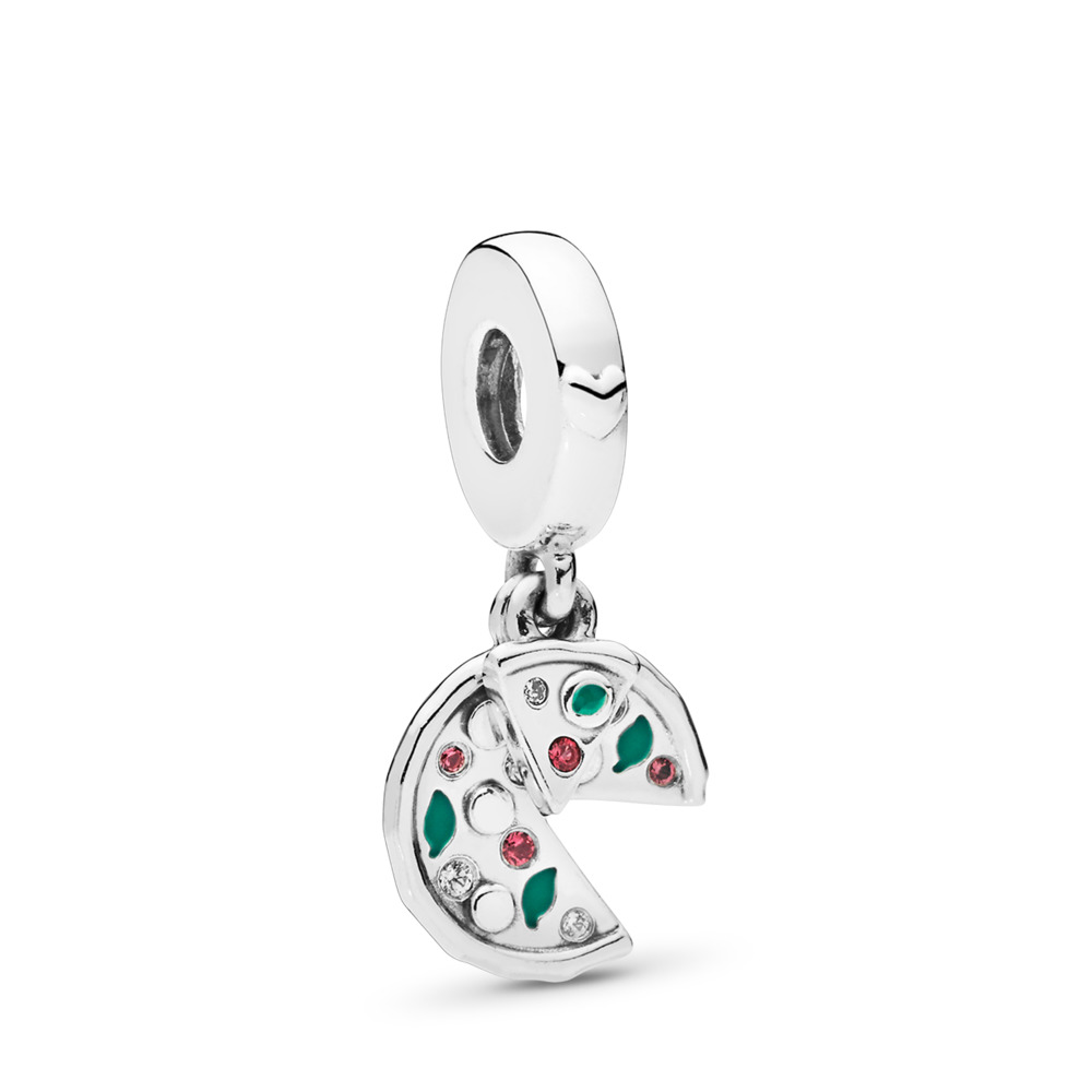 Passion for Pizza Dangle Charm, Green Enamel, Red Crystal & Clear CZ, Sterling silver, Enamel, Green, Mixed stones - PANDORA - #797443CZ