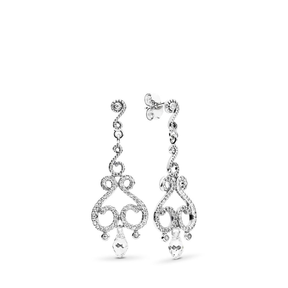 Pendants d'oreilles Gouttelettes en chandelier, cz incolore, Argent sterling, Aucun autre matériel, Aucune couleur, Pierres mélangées - PANDORA - #297088CZ
