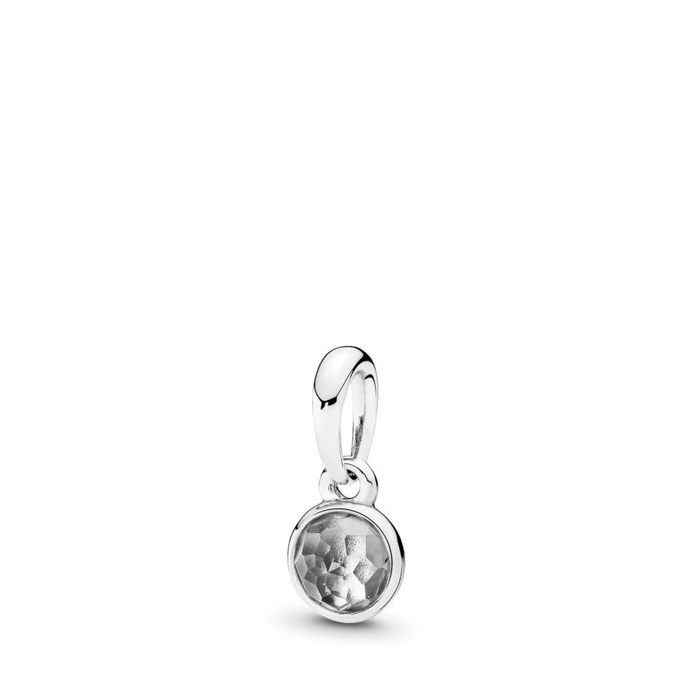 Gouttelette d'avril, cristal de roche, Argent sterling, Aucun autre matériel, Gris, Cristal de roche - PANDORA - #390396RC