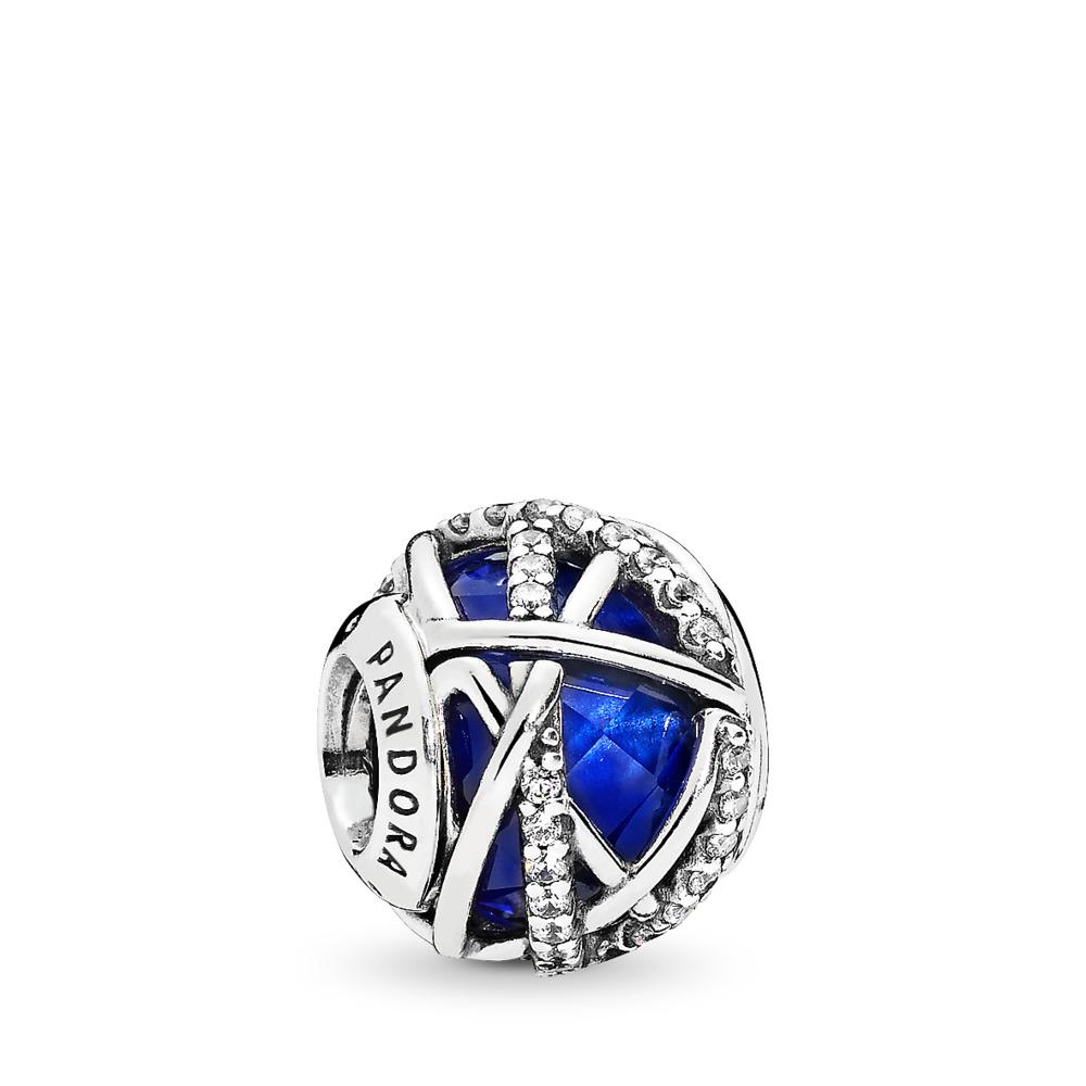 Charm Galaxie, cristal bleu royal et cz incolore, Argent sterling, Aucun autre matériel, Bleu, Pierres mélangées - PANDORA - #796361NCB