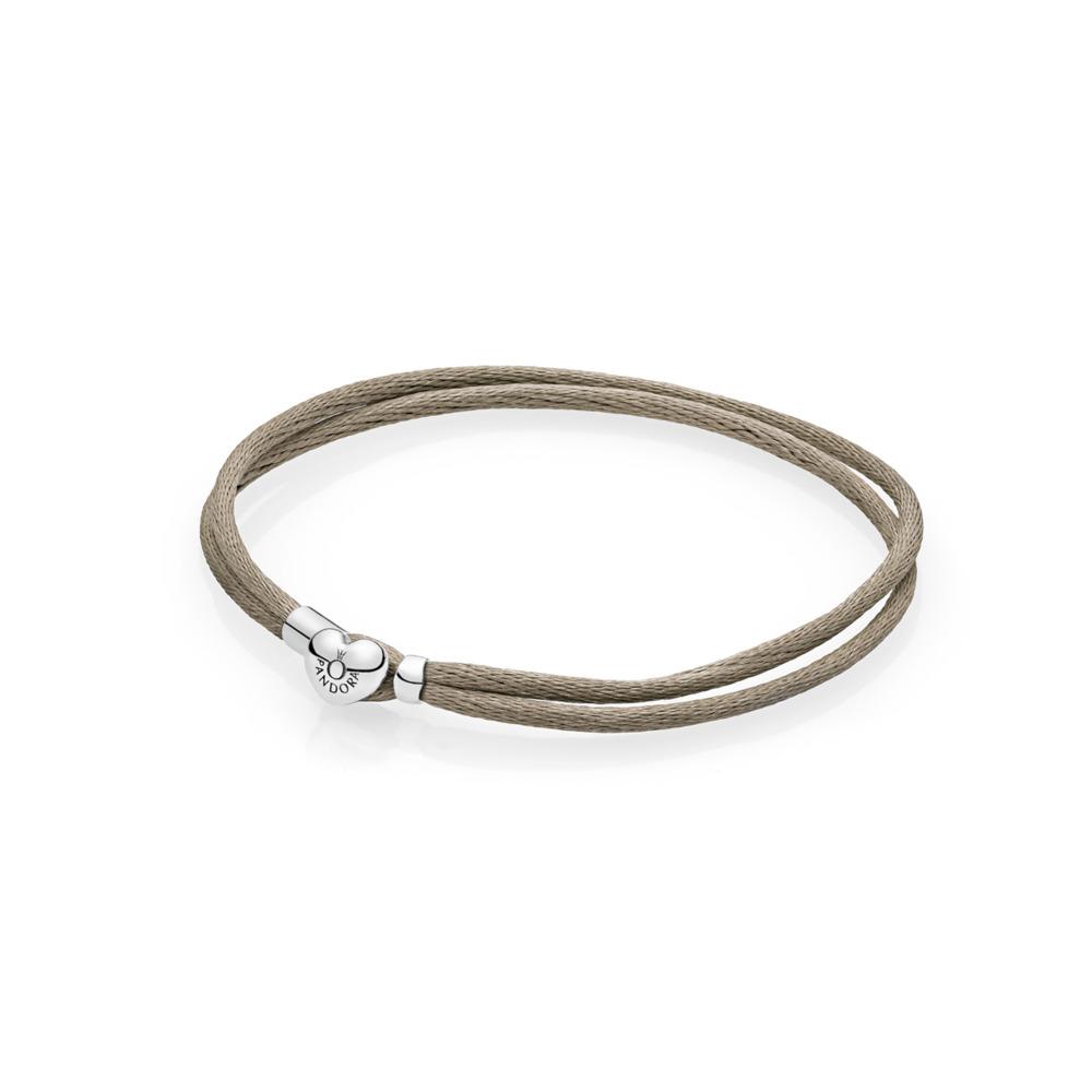 Bracelet-cordonnet en tissu, vert gris, Argent sterling, Textile/ fibres synthétiques, Vert, Aucune pierre - PANDORA - #590749CGG-S