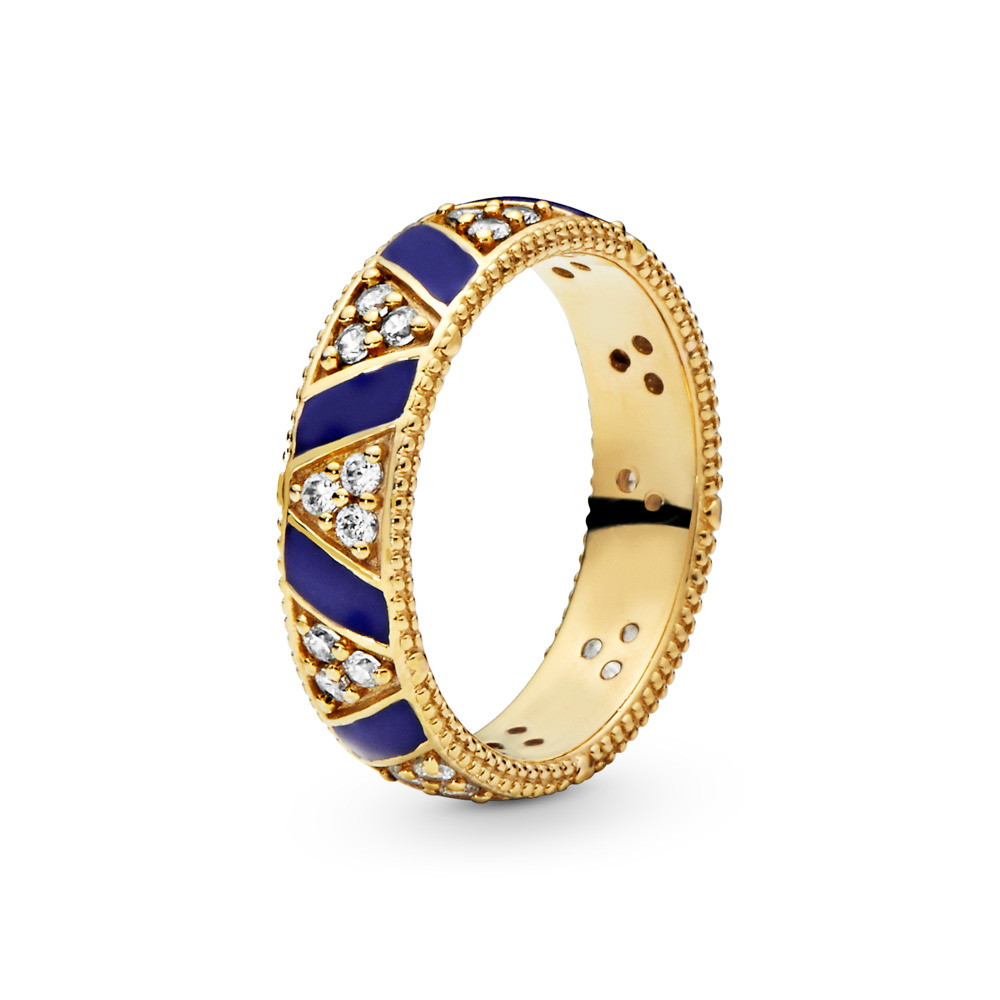 Limited Edition Exotic Stones & Stripes Ring, 18ct gold-plated sterling silver, Enamel, Blue, Cubic Zirconia - PANDORA - #168057CZ