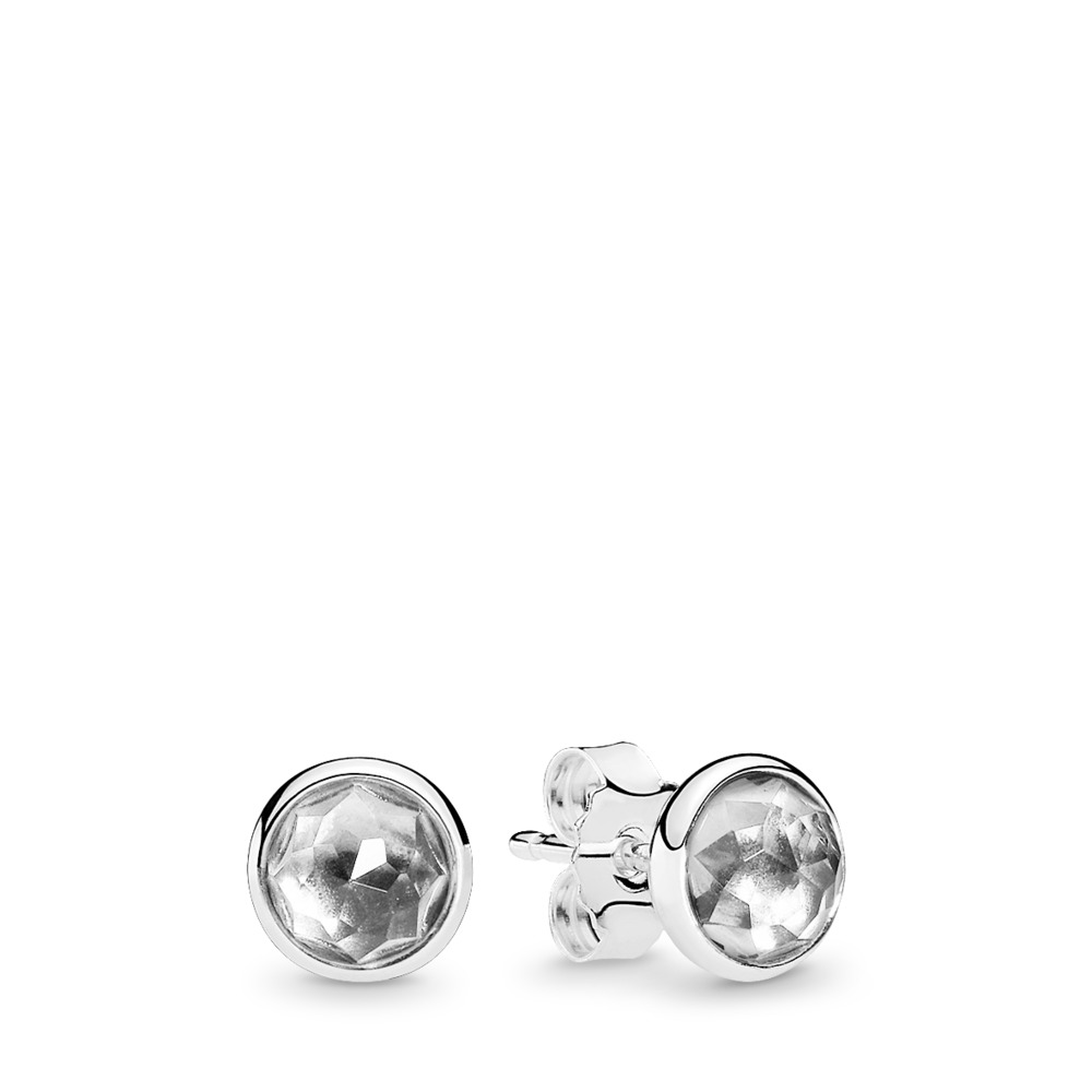 April Droplets, Rock Crystal, Sterling silver, Grey, Crystal - PANDORA - #290738RC