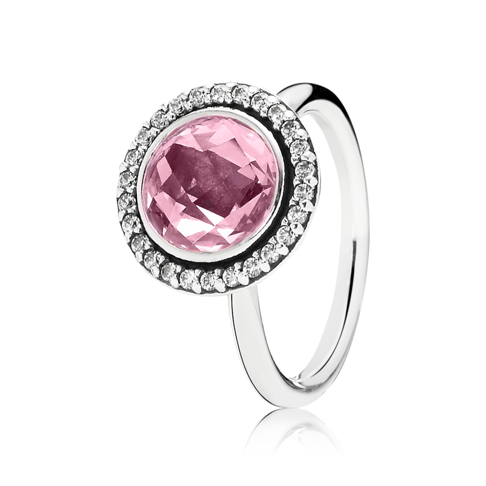 Brilliant Legacy Ring, Pink & Clear CZ, Sterling silver, Pink, Cubic Zirconia - PANDORA - #190904PCZ